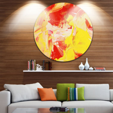 Design Art Yellow and Red Abstract Art Disc Abstract Circle Metal Wall Art