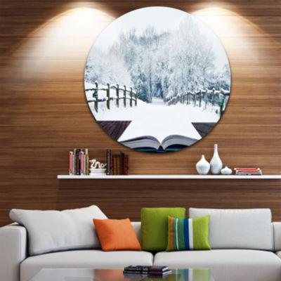 Design Art Winter Wonderland Disc Landscape CircleMetal Wall Art