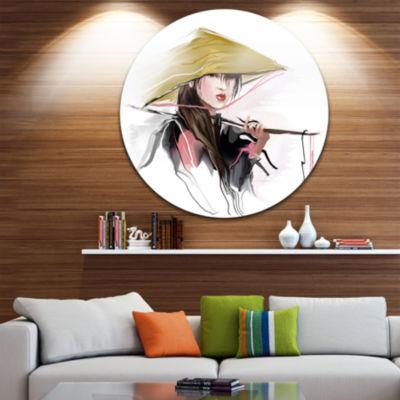 Design Art Vietnamese Woman Disc Contemporary Portrait Circle Metal Wall Art