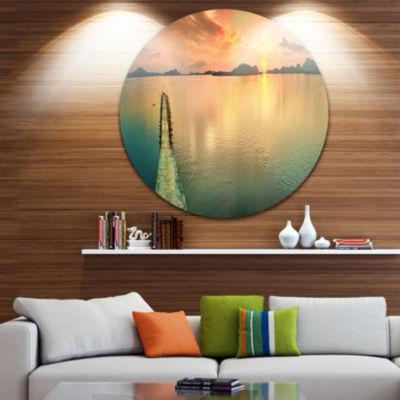 Design Art Tranquil Sunset Panorama Disc Photography Circle Metal Wall Art