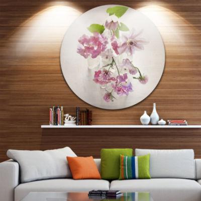 Design Art Vintage Pink Flowers Disc Floral MetalArtwork