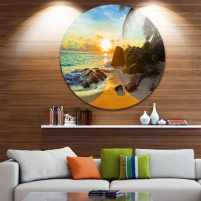 Design Art Sunset in Tropical Beach Disc LandscapePhotography Circle Metal Wall Art