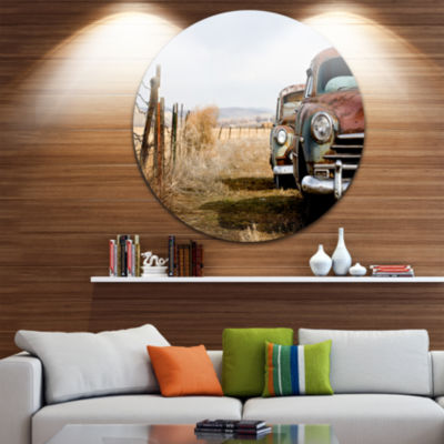 Design Art Vintage Cars Disc Contemporary Circle Metal Wall Art