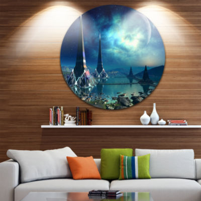 Design Art The Towers of Gremor Alien Planet DiscLarge Contemporary Circle Metal Wall Arts
