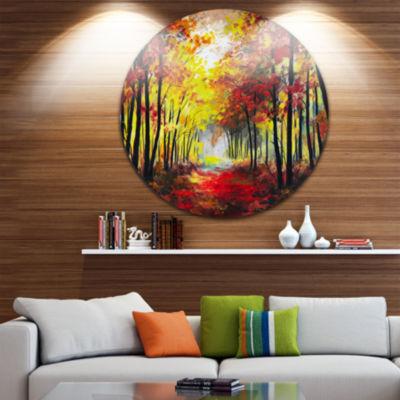 Design Art Walk Through Autumn Forest Landscape Metal Circle Wall Art