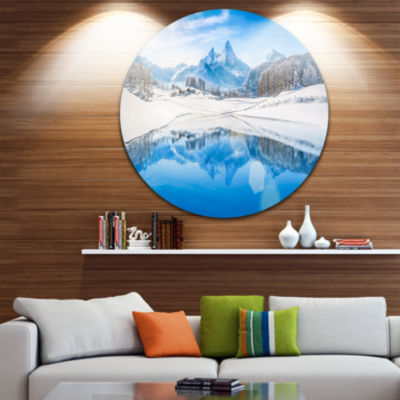 Design Art Winter Mountain Lake in Alps Disc Landscape Photography Circle Metal Wall Art