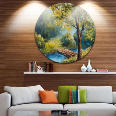 Design Art Summer Forest with Beautiful River Landscape Circle Metal Wall Art