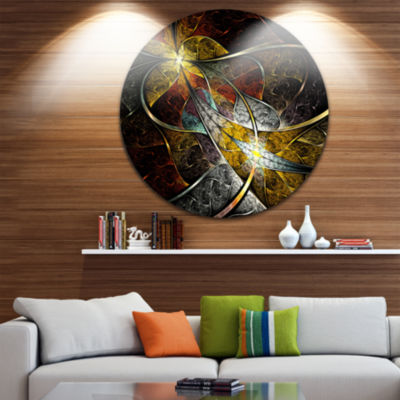 Design Art Symmetrical Fractal Flower Disc FloralCircle Metal Wall Art