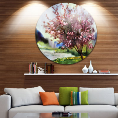 Design Art Tree with Spring Flowers Floral Metal Circle Wall Art