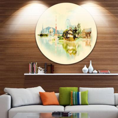 Design Art Tokyo Panoramic View Disc Cityscape Watercolor Circle Metal Wall Art