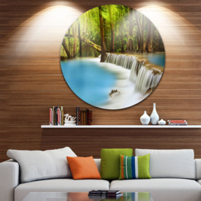 Design Art View of Huai Mae Kamin Waterfall Disc Photography Circle Metal Wall Art