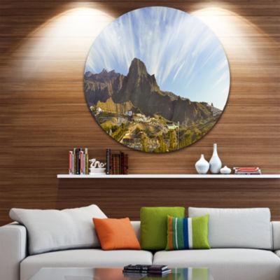 Design Art Sunrise over EI Teide National Park Disc Landscape Circle Metal Wall Art