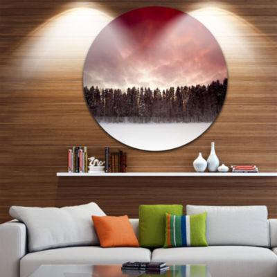 Design Art Sunset over Frozen Lake Disc LandscapePhotography Circle Metal Wall Art
