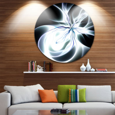 Design Art White Symmetrical Fractal Flower Abstract Art on Round Circle Metal Wall Decor Panel