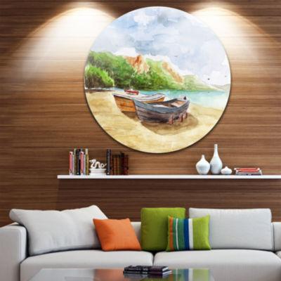 Design Art Watercolor Fishing Boats Landscape Circle Metal Wall Art