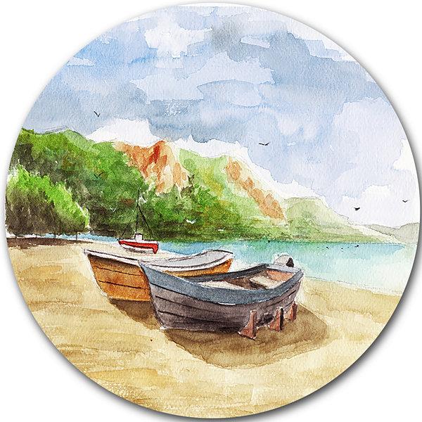 Design art watercolor fishing boats landscape circle metal for Circle fishing boat