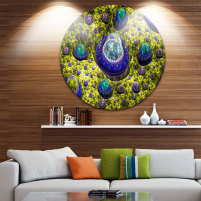 Design Art Yellow Fractal Exotic Planet Abstract Round Circle Metal Wall Decor