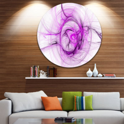 Design Art Wisps of Smoke Purple Abstract Circle Metal Wall Art
