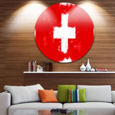 Design Art Switzerland Flag Illustration Flag Painting Circle Circle Metal Wall Art