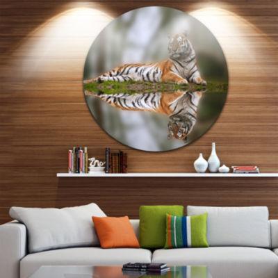 Design Art Tiger Reflecting in Water Disc Animal Photography Circle Metal Wall Art