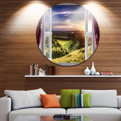 Design Art Window View Disc Landscape Circle MetalWall Art