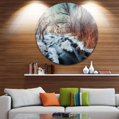 Design Art Ukraine Winter Forest Landscape Photography Circle Metal Wall Art