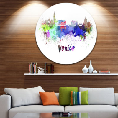 Design Art Venice Skyline Disc Cityscape Circle Metal Wall Art