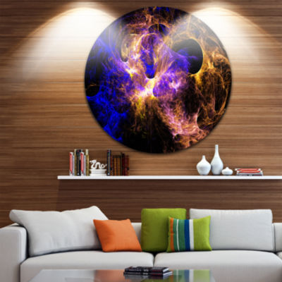 Design Art Wings of Angels Blue in Black Large Abstract Circle Metal Wall Art
