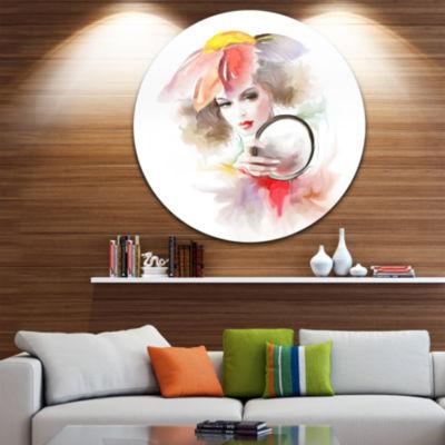 Design Art Woman with Mirror Disc Abstract CircleMetal Wall Art