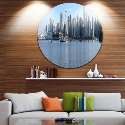 Design Art Vancouver BC Skyline Panorama Disc Cityscape Photo Circle Metal Wall Art