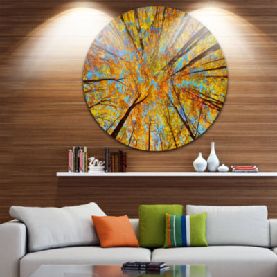 Design Art Tree Tops in Autumn Forest Forest Circle Metal Wall Art