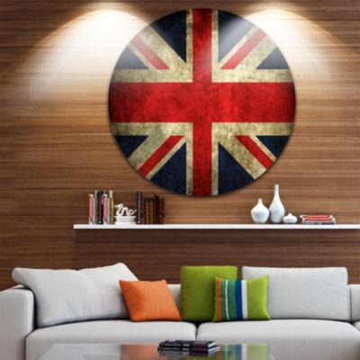 Design Art Vintage UK Flag Disc Contemporary Circle Metal Wall Art