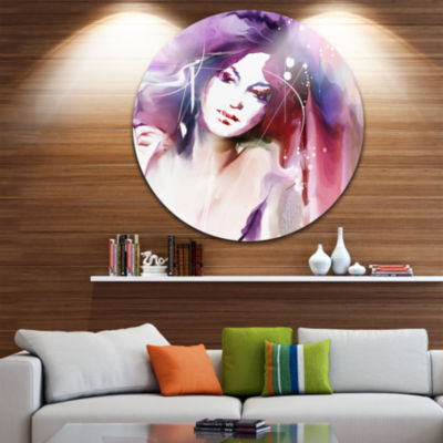 Design Art Woman with Wreath Disc Portrait Contemporary Circle Metal Wall Art