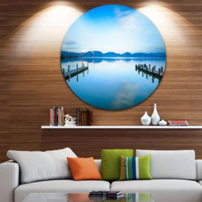 Design Art Two Wooden Piers in Blue Sea Seascape Circle Metal Wall Art