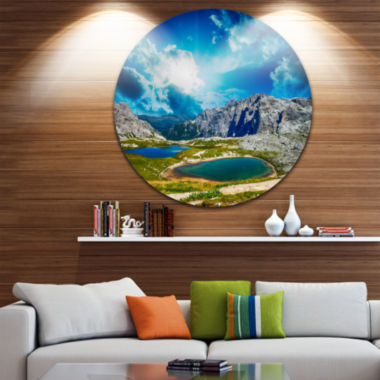 Design Art Sunset over Alpine Lakes Disc LandscapePhotography Circle Metal Wall Art