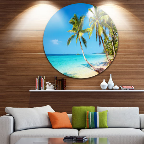Design Art Tropical Beach Disc Photography Seascape Circle Metal Wall Art
