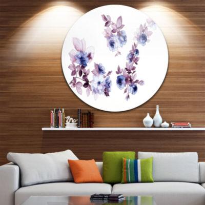 Design Art Watercolor Flowers Floral Circle MetalWall Art