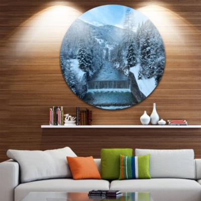 Design Art Winter Mountain Stream Disc Landscape Photography Circle Metal Wall Art
