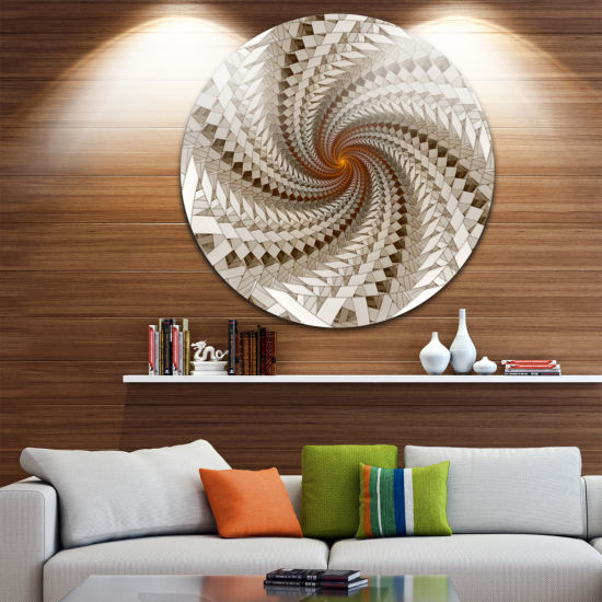 Design Art White Fractal Spiral Pattern Disc LargeContemporary Circle Metal Wall Arts