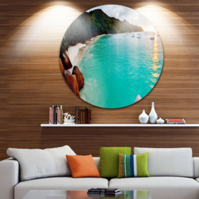 Design Art Tropical Beach with Blue Waters Seascape Circle Metal Wall Art