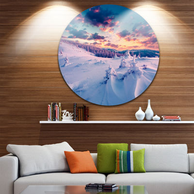 Design Art Winter in Carpathian Mountains Disc Landscape Photography Circle Metal Wall Art