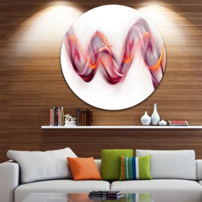 Design Art Tangled Pink Gold Waves Abstract CircleMetal Wall Art