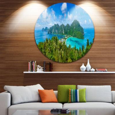 Design Art Tropical Island Panorama Disc Photography Circle Metal Wall Art