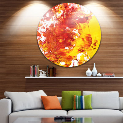Design Art Textured Red and Yellow Art Disc Abstract Circle Metal Wall Art