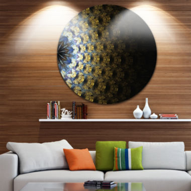 Design Art Symmetrical Gold Fractal Flower Abstract Round Circle Metal Wall Decor Panel
