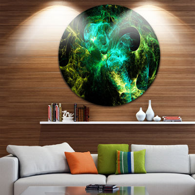 Design Art Wings of Angels Green in Black Large Abstract Circle Metal Wall Art