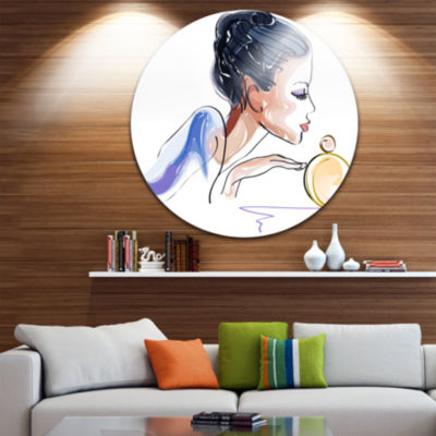 Design Art Woman with Bottle of Perfume Disc Abstract Circle Metal Wall Art