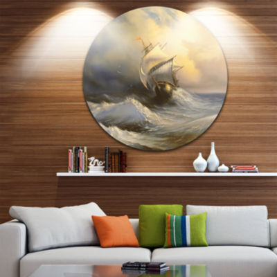 Design Art Vessel in Stormy Sea Seascape Circle Metal Wall Art