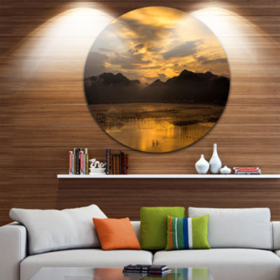 Design Art Sunrise in Xiapu County Disc LandscapePhotography Circle Metal Wall Art