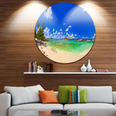 Design Art Tropical Beach with Green Sea Disc Landscape Photography Circle Metal Wall Art